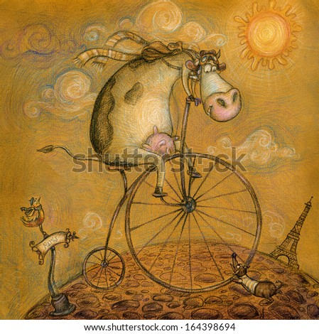 Cute cow on the bicycle.Vintage background.Children illustration. Cartoon childish background in vintage colors.Eiffel tower in Paris, post card in hand drawn style. Traveling cow. Bicycle ride. Paris