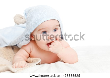 Cute crawling baby - stock photo