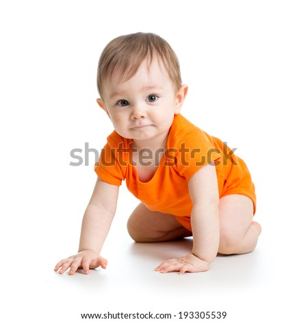 cute crawling baby boy isolated on white background - stock photo
