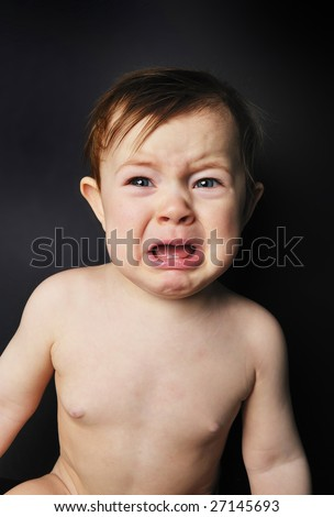 cute crying baby - stock photo