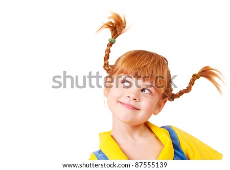 Cute cunning little girl with red braided hair - stock photo