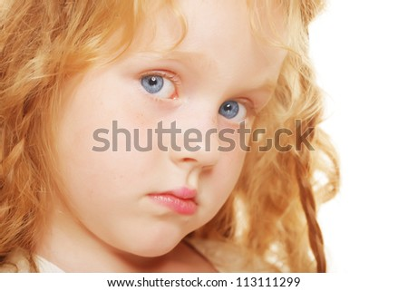 Cute cunning little girl with red hair - stock photo
