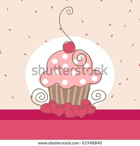 cute cupcake - stock photo