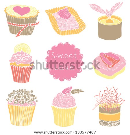 Cute Cupcakes. Seamless Pattern