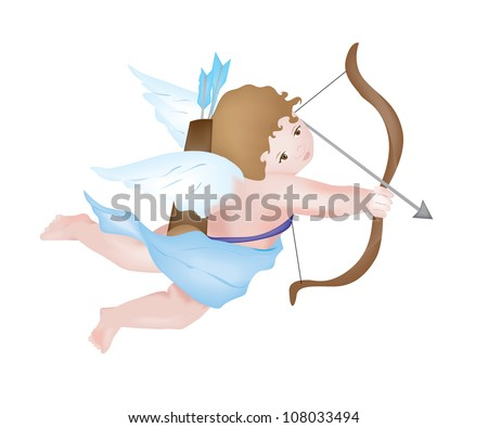 Cute Cupid shooting arrows, isolated on white background