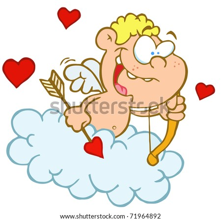 Cute Cupid with Bow and Arrow Flying in Cloud