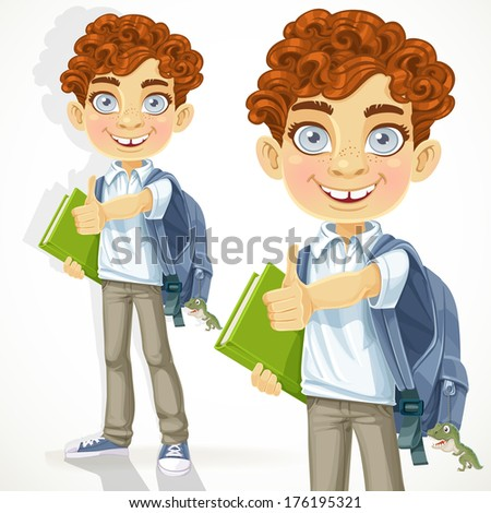 Cute curly-haired boy with books - stock photo