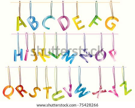 Cute 3d alphabet (caps) on the strings over white - stock photo