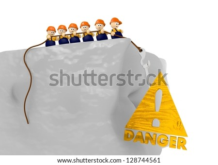 cute 3d character pull on a wooden danger sing - stock photo