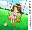 Cute 2d girl on the swing with her dog and other animals. - stock vector