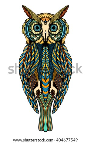 Cute decorative ornamental Owl. Doodle style. Hand drawn art illustration. - stock photo