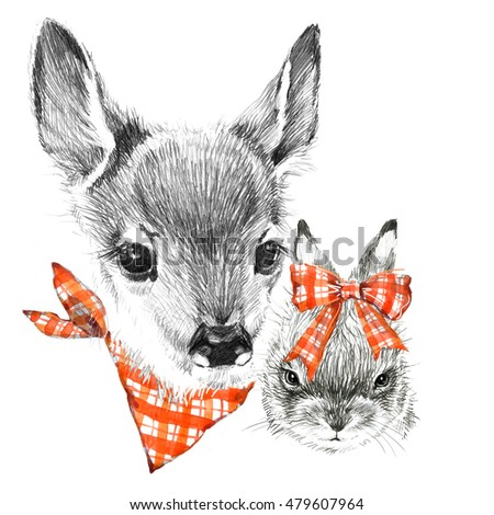 cute deer and bunny pencil sketch of fawn animal illustration t shirt