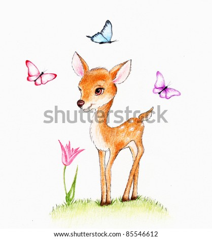 Cute deer  with butterfly - stock photo