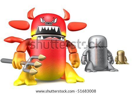 Cute devil toy robots isolated on a white background. 3d rendering image - stock photo