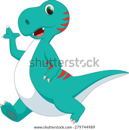 cute dinosaur cartoon - stock photo