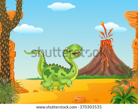 Cute dinosaur running in the prehistoric background
