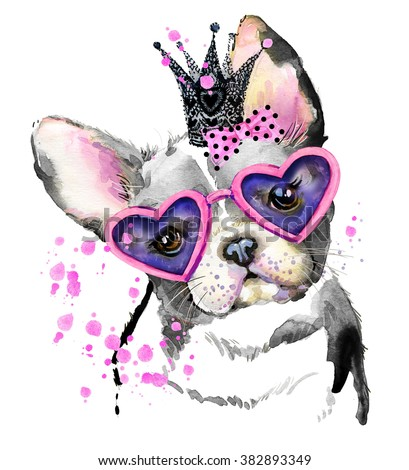 Cute Dog. Dog T-shirt graphics. watercolor Dog illustration background. watercolor funny Dog for fashion print, poster for textiles, fashion design. French Bulldog - stock photo