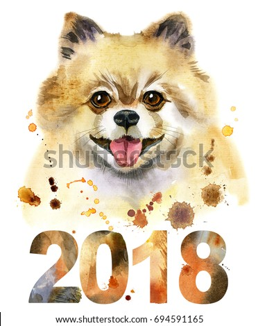 Cute Dog. Dog T-shirt graphics. watercolor pomeranian spitz illustration. Symbol of the year 2018