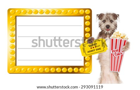 Cute dog next to a blank illuminated show sign holding popcorn and an admission ticket - stock photo