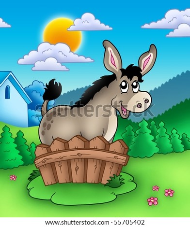 Cute donkey behind fence - color illustration. - stock photo