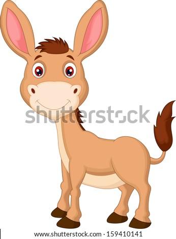 Cute donkey cartoon - stock photo