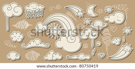 Cute doodle of sky elements: sun, moon, clouds, stars, rainbow. For vector version see my portfolio. - stock photo