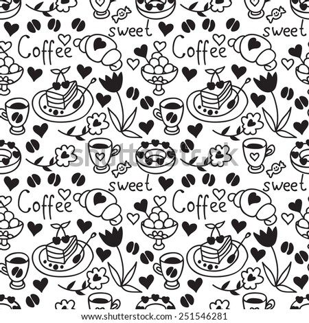 Cute doodle seamless pattern with hearts. Teatime backdrop. Happy Valentine's Day background. Black and white. - stock photo
