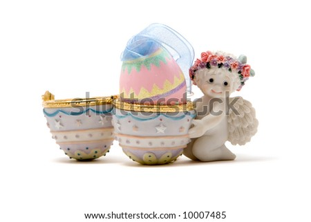 Cute Easter angel with colorful egg