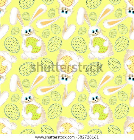 Cute easter bunny seamless white background stock illustration cute easter bunny seamless light yellow background with cartoon rabbit and colorful easter eggs negle Images