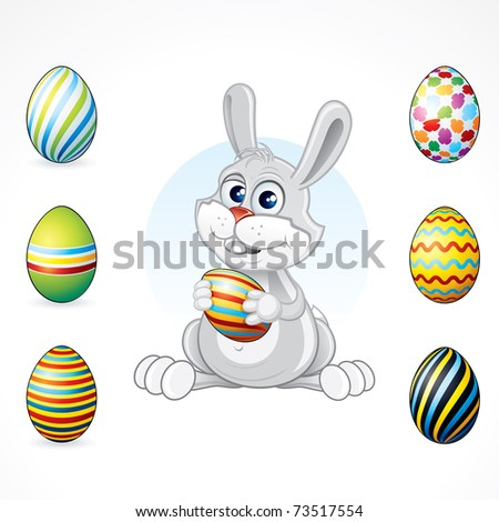 Cute Easter Bunny with eggs collection - festive set for design ( vector version please see at my gallery ) - stock photo