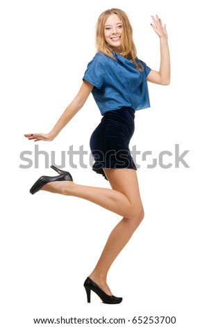 Cute elegant woman in having fun, isolated on white - stock photo