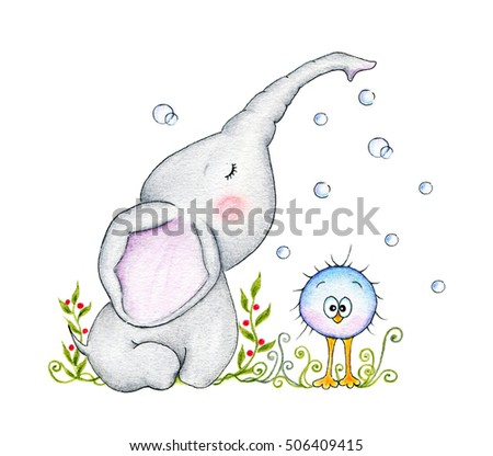 Cute elephant and bird