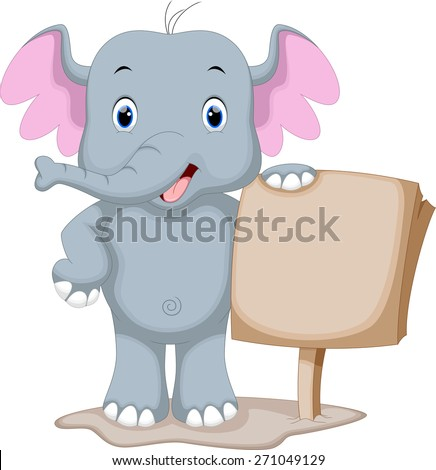 Cute Elephant cartoon holding a blank sign - stock photo