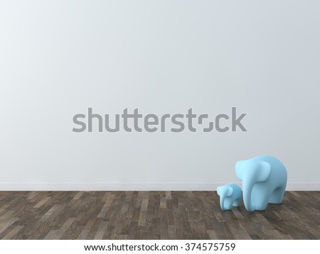 Cute elephant in the room - stock photo