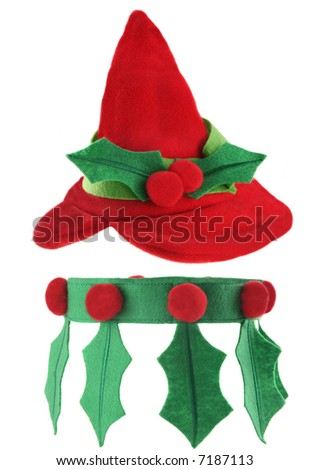 Cute elf hat and collar isolated on white background - stock photo