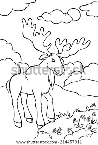 Cute elk standing in the forest and looking at berries - stock photo