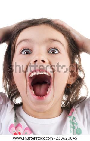 cute emotional little girl joyful crying - stock photo