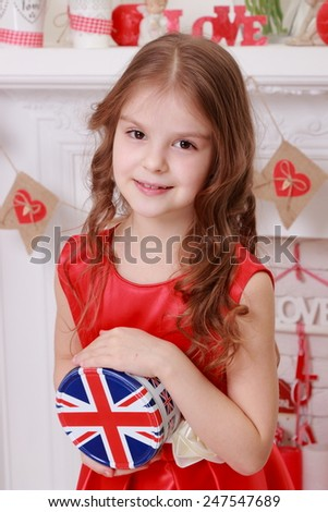 Cute emotional young girl over beautiful interior  - stock photo