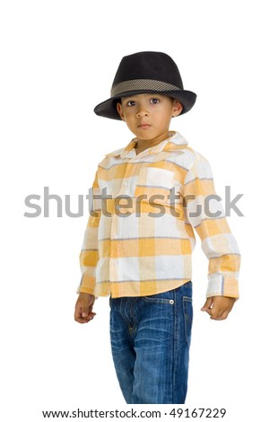 cute eurasian boy with hat, isolated on white - stock photo