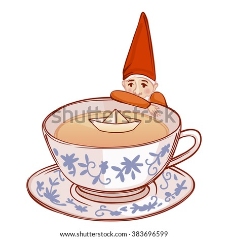 cute fairytale dwarf watching a paper ship in a cup of tea - stock photo