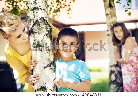 Cute family having fun - stock photo