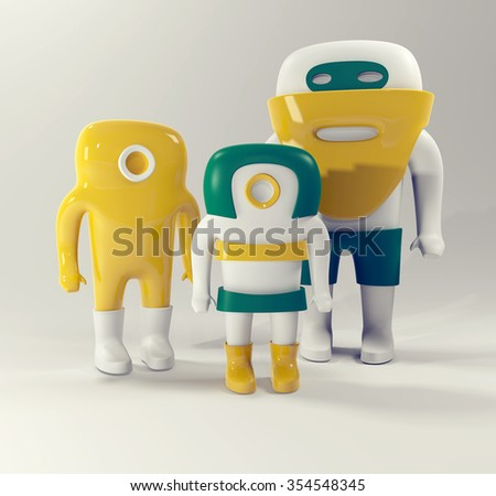 Cute family isolated on white.3d. - stock photo
