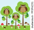 Cute family of owls in forest.Raster version - stock photo