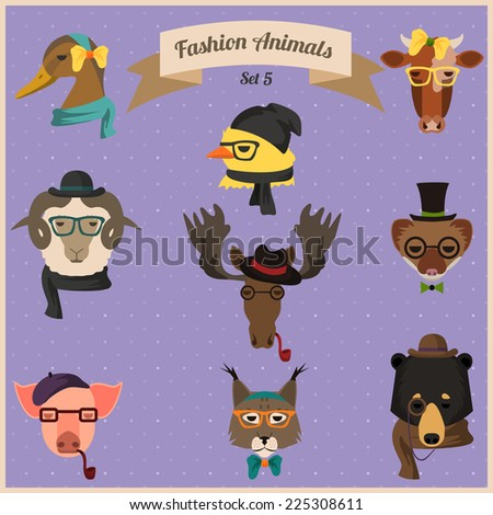 Cute fashion Hipster Animals with flat design.  Illustration