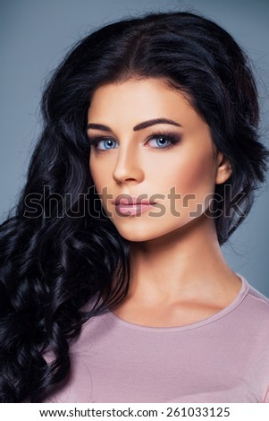 Cute fashion model with healthy skin and hair - stock photo