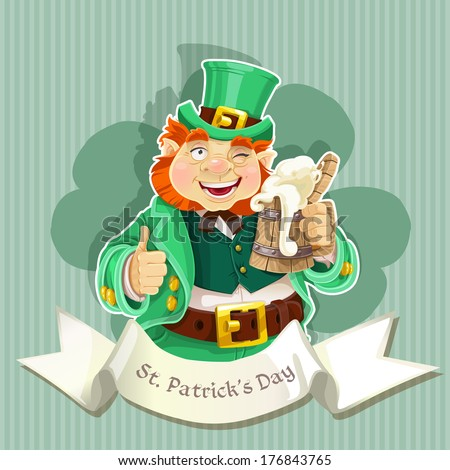 Cute fat Leprechaun with a pot of ale froth - stock photo
