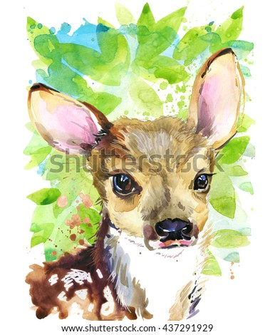 Cute fawn. Deer. watercolor animal. Wild animal. Forest animal. T-shirt art.