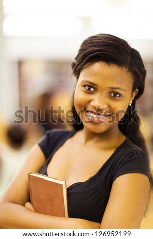 cute female african american college student closeup - stock photo
