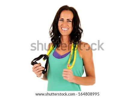 cute female fitness model smiling after workout
