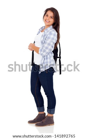 cute female high school student posing over white background - stock photo
